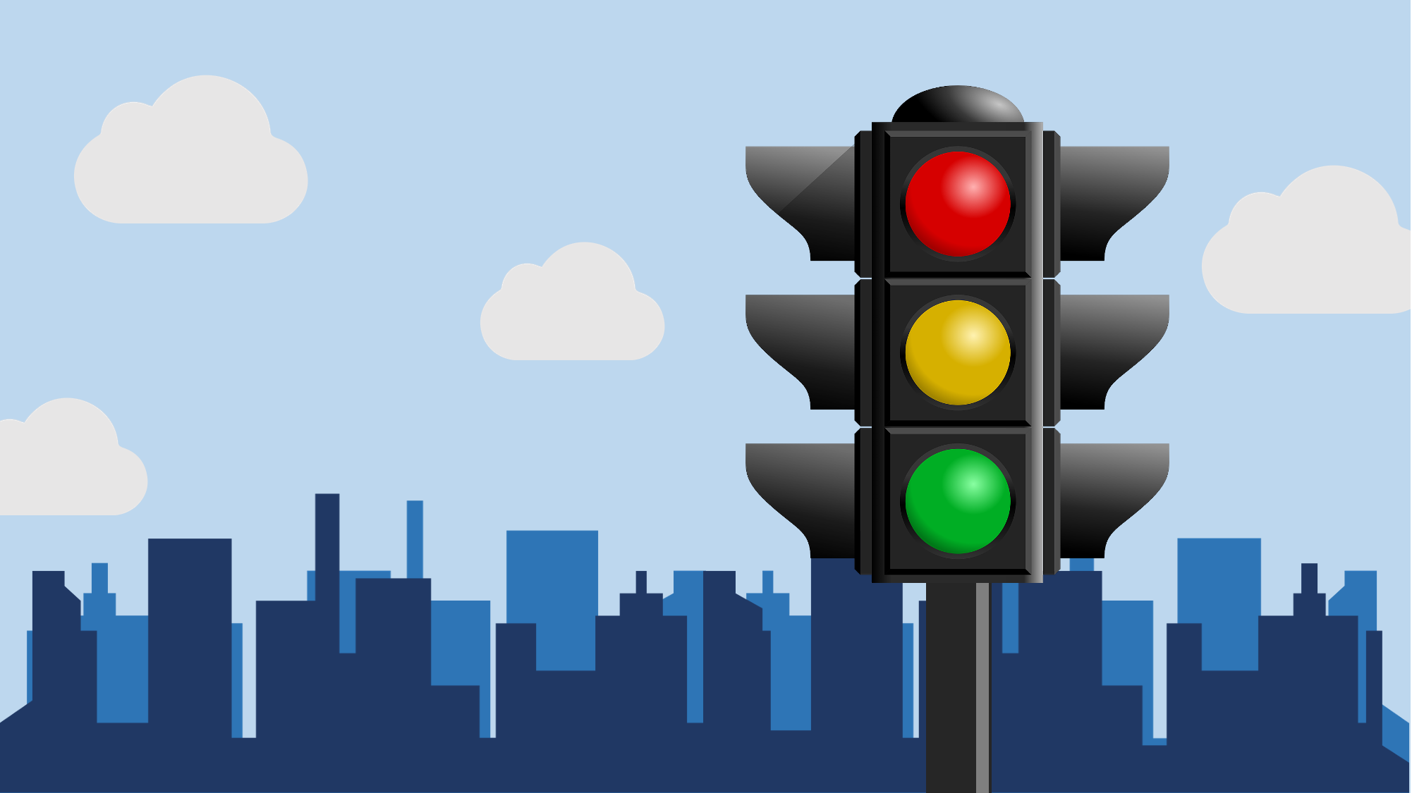 Traffic light with buildings